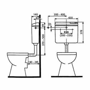 SANIT WC TARTÁLY 928 9L ALACSONY ELH FALON KÍVÜLI 9190301S000